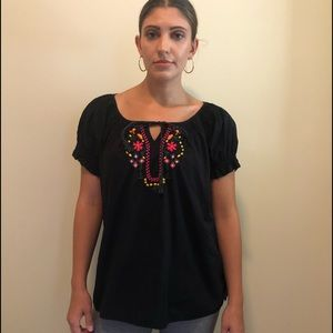 Jeanstar Black Embroidered Boho Peasant Look Top